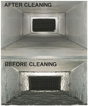 Before and after cleaning of air duct