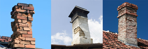 Collage of three chimneys