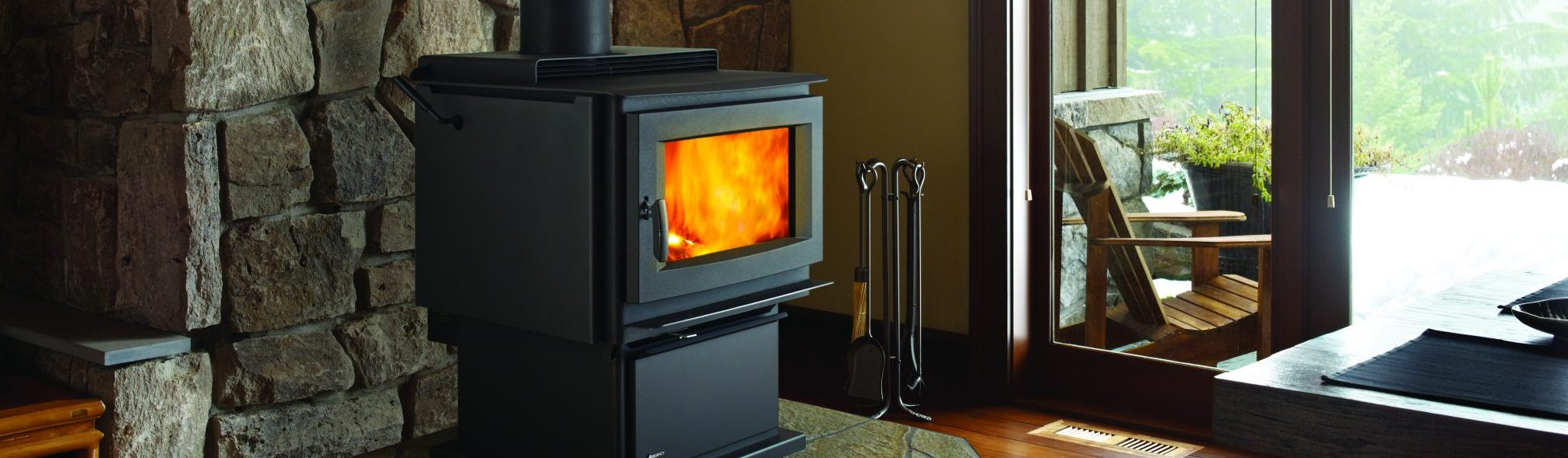 wood stove in livingroom