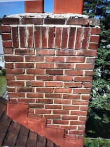 broken bricks on a chimney
