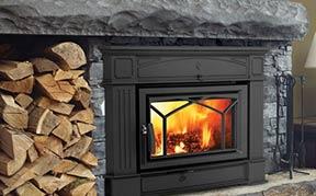 Fire inside wood stove