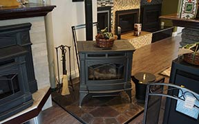 Wood stove in home