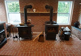 Wood stoves in showroom